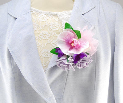 Pink Orchid, Purple Freesia & Lilac Rose Wedding Pin Corsage