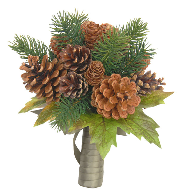 Bridesmaids Artificial Spruce, Pine Cone & Maple Leaf Wedding Bouquet
