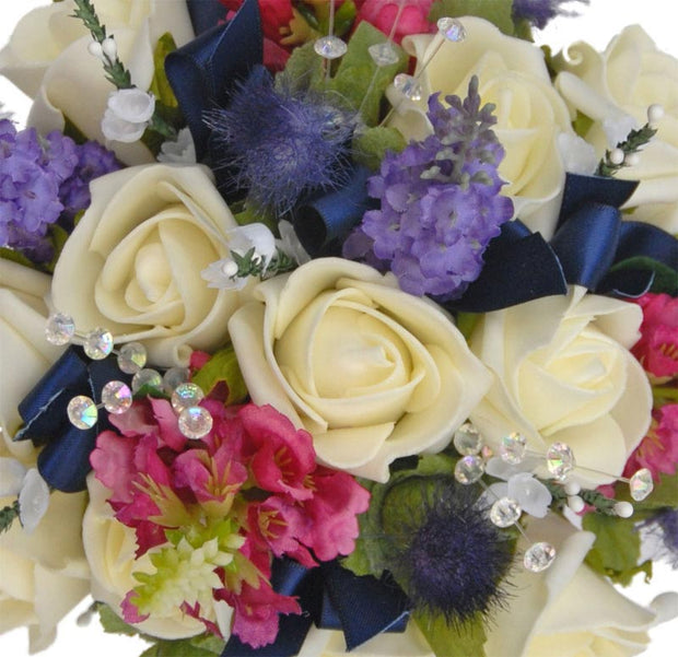 Bridesmaids Ivory Rose, Blue Thistle, Lavender & Pink Physostegia Posy