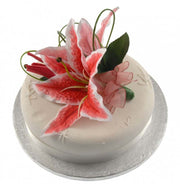 Cerise Pink Silk Stargazer, Grass Loop Wedding Cake Spray