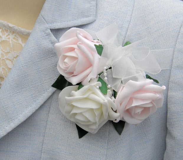 Light Pink & Ivory Rose, Pearl Loop Wedding Day Pin Corsage