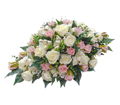 Pink, Ivory Rose, Crystal & Eucalyptus Top Table Wedding Arrangement