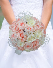 Brides Pink & Ivory Foam Rose Crystal Pearl Wedding Bouquet