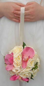 Pink Silk Orchid, Cream Rose & Crystal Flower Girls Pomander