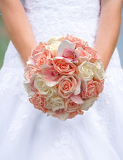 Brides Pink, Peach Rose & Silk Orchid, Pearl Bow Wedding Bouquet
