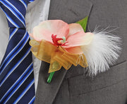 Pink Silk Orchid, Ivory Feather & Gold Bow Wedding Guest Buttonhole