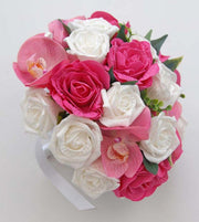 Pink Silk Orchids, Pink & White Rose Bridal Wedding Bouquet