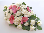 Pink Silk Orchid & Ivory diamante Rose Top Table Wedding Arrangement