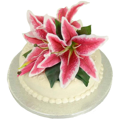 Cerise Pink Silk Stargazer Lily Wedding Cake Spray Topper