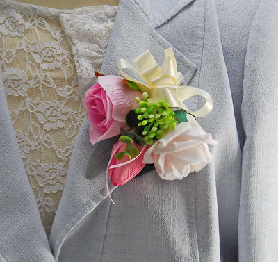Pink Foam, Silk Rose, Eucalyptus & Tulip Pin On Wedding Corsage