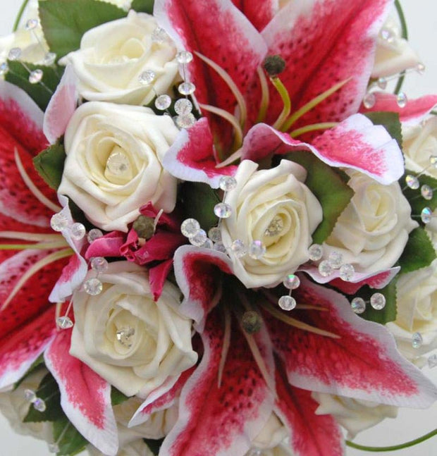 Pink Stargazer Lily, Ivory Diamante Rose & Crystal Bridal Bouquet