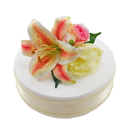 Pink Tiger Lily, Rose & Ivory Silk Peony Wedding Cake Spray