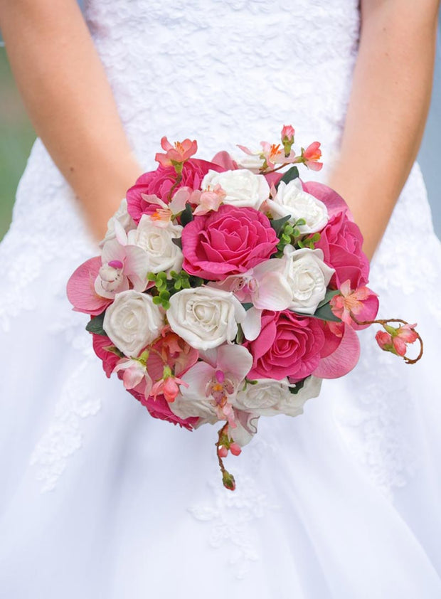 Brides Pink & White Rose, Orchid & Cherry Blossom Wedding Bouquet