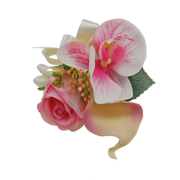 Pink Silk Orchid, Rose, Calla Lily & Berry Wedding Pin Corsage