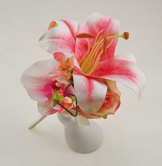 Pink Silk Tiger Lily, Orchid, Rose & Cherry Blossom Wedding Wand
