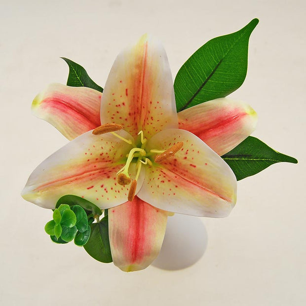 Pink Tiger Lily & Green Eucalyptus Flower Girl Wedding Wand