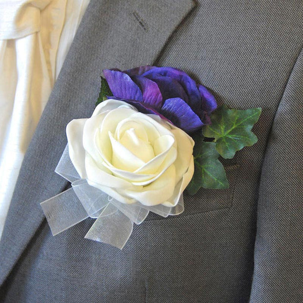 Grooms Purple Silk Anemone & Ivory Rose Wedding Buttonhole