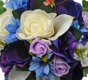 Bridesmaids Purple Anemonie, Ivory Calla Lily & Blue Agapanthus Wedding Bouquet