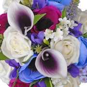 Bridesmaids Purple Calla Lily, Veronica, Cerise & Blue Silk Anemone Wedding Posy