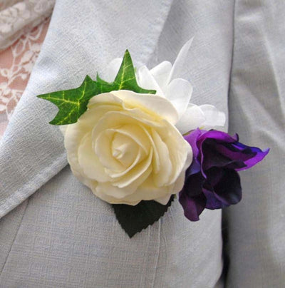 Purple Silk Lisianthus & Ivory Rose Pin on Wedding Corsage