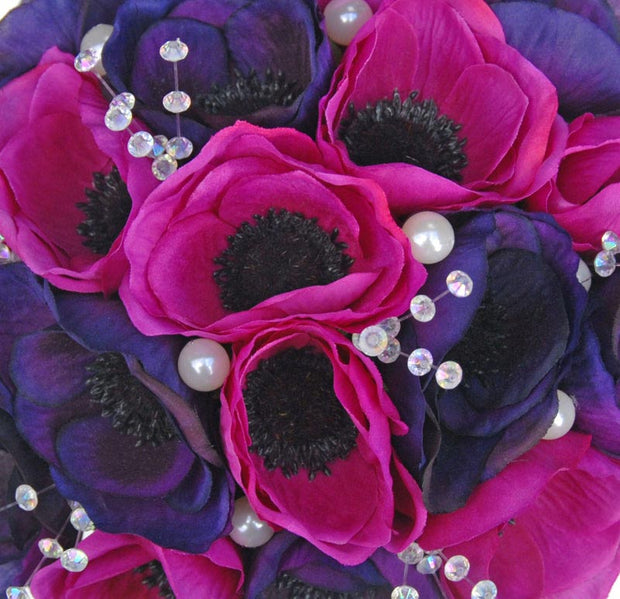 Bridesmaids Purple & Cerise Silk Anemone Crystal Wedding Bouquet