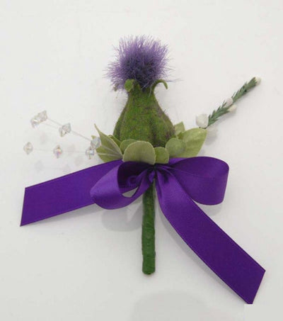 Purple Scottish Thistle & Silk White Heather Crystal Buttonhole