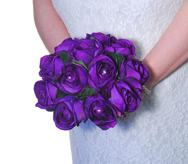Brides Purple Silk Rose Glass Diamante Wedding Bouquet