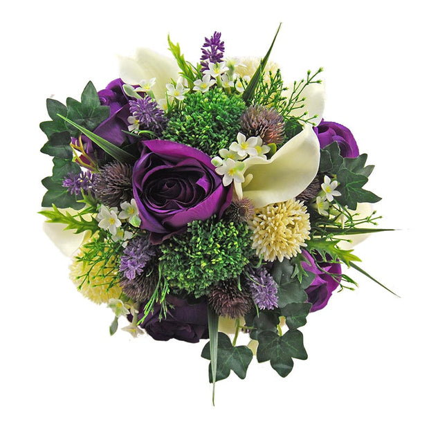 Purple Silk Rose, Ivory Calla Lily & Elderflower Bridal Wedding Bouquet