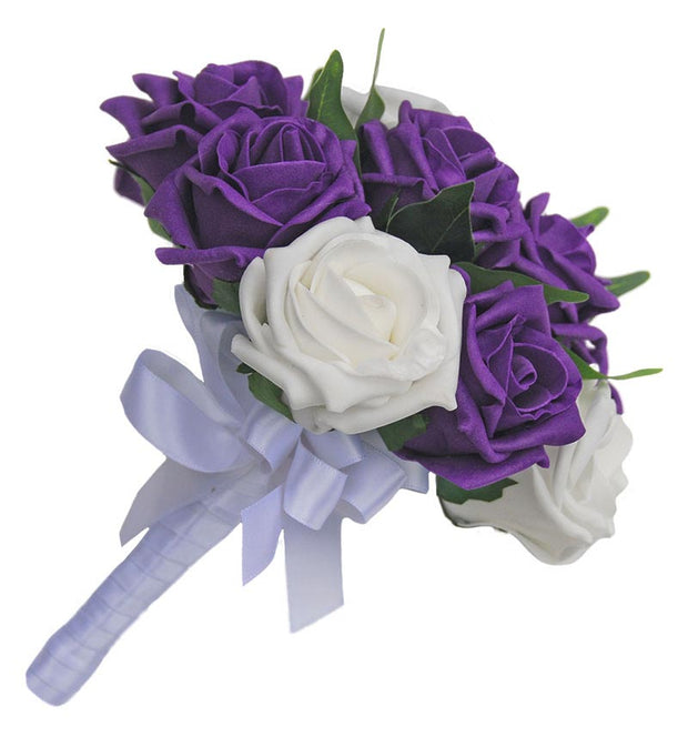 Bridesmaids Purple, White Rose & Ficus Leaf Wedding Posy