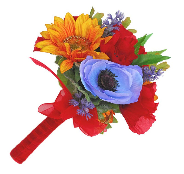 Red Silk Poppy, Golden Sunflower & Blue Anemone Wedding Posy