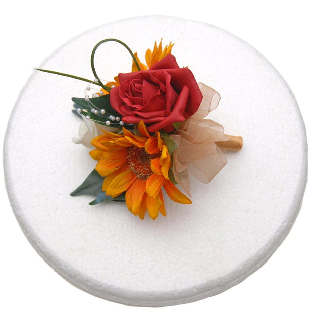 Red Rose, Golden Silk Sunflower & Pearl Loop Wedding Cake Spray