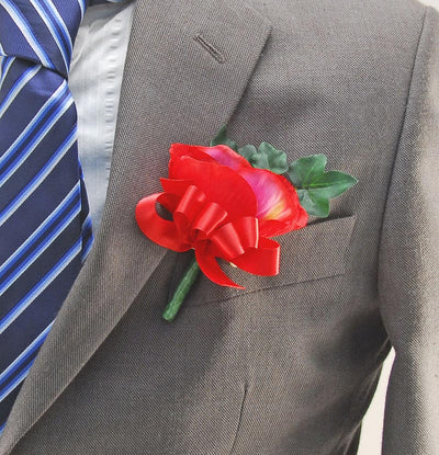 Red Silk Anemone & Satin Bow Wedding Guest Buttonhole