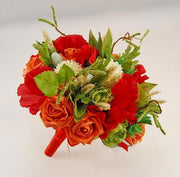 Brides Red Silk Poppy, Orange Rose Hops & Wheat Wedding Bouquet