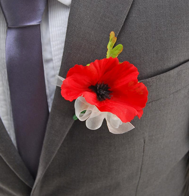 Red Silk Poppy & Gypsophila Wedding Guest Buttonhole