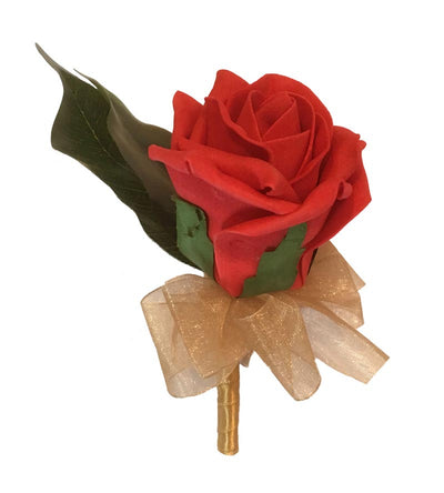 Red Foam Rose & Gold Ribbon Wedding Guest Buttonhole