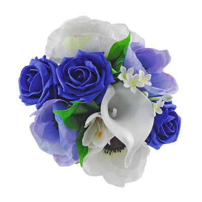 Royal Blue Rose, Silk Anemonie & Ivory Calla Lily Childrens Wedding Posy