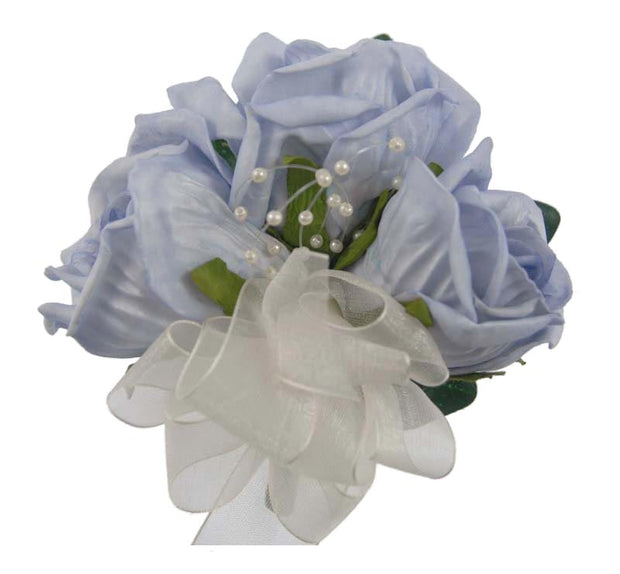 Mothers Light Blue Rose & Pearl Wedding Day Pin Corsage