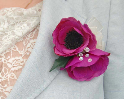 Cerise Pink Silk Anemone Crystal Wedding Pin Corsage