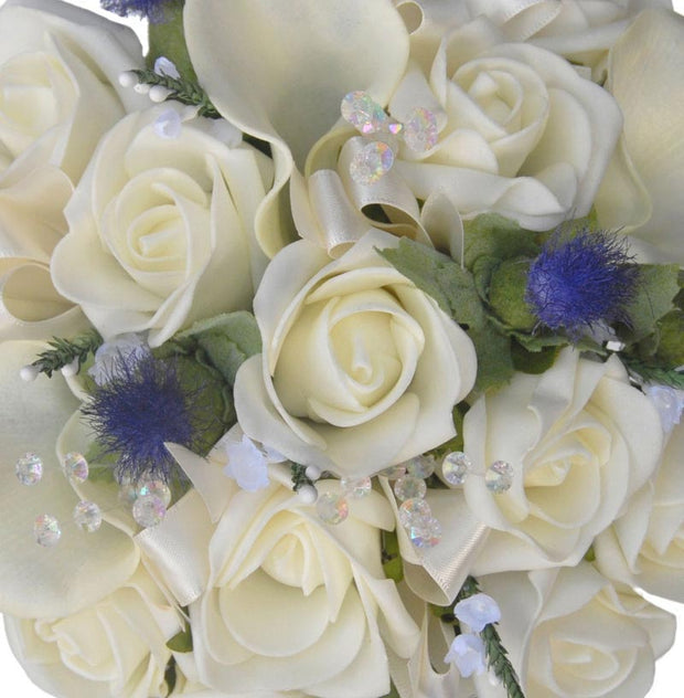 Bridesmaids Ivory Rose, Calla Lily & Thistle Wedding Posy