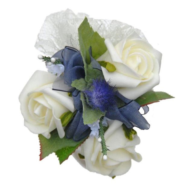 Small Ivory Rose & Blue Thistle Flower Girls Wedding Posy