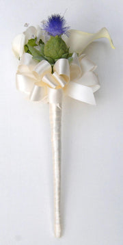 Ivory Calla Lily, Rose & Blue Thistle Flower Girl Wedding Wand