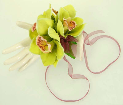Green Silk Orchid & Burgundy Ribbon Wedding Day Wrist Corsage