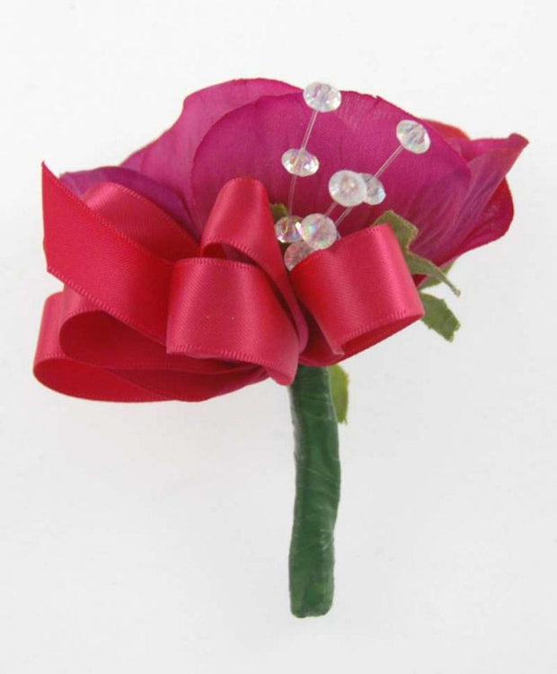 Cerise Pink Silk Anemone & Crystal Wedding Guest Buttonhole