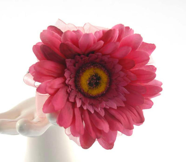 Cerise Pink Silk Gerbera Black Ribbon Flower Girl Wedding Wand