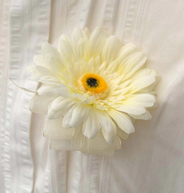 Ivory Silk Gerbera Wedding Guest Buttonhole with Ivory Organza