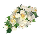 Ivory Silk Orchid & Foam Rose Wedding Top Table Arrangement