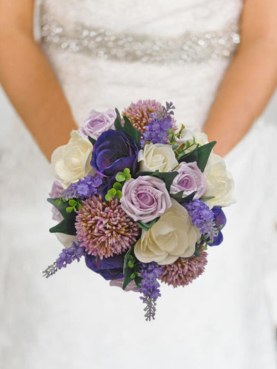 Brides Silk Lilac Allium, Lavender & Rose Wedding Bouquet