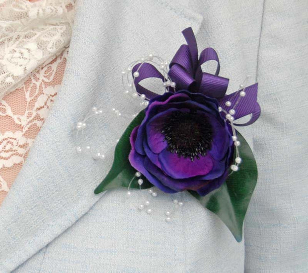 Purple Silk Anemone Pearl Loop Ladies Wedding Pin Corsage
