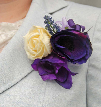 Purple Lisianthus, Anemone & Cream Rose Wedding Pin Corsage