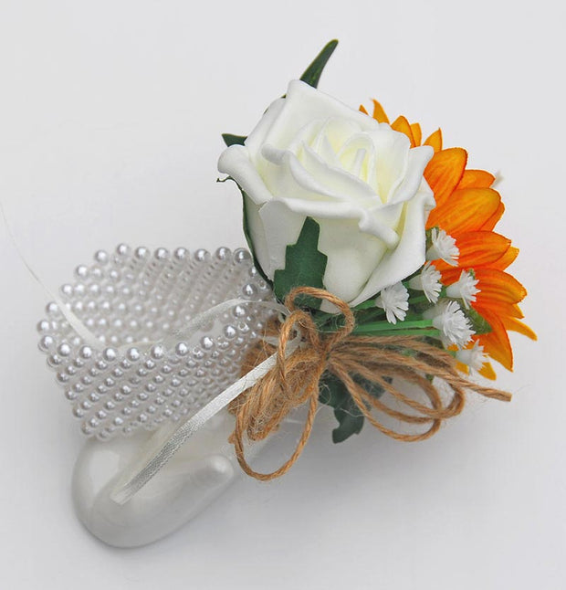 Golden Silk Sunflower, Gyp & Ivory Rose Pearl Band Wrist Corsage